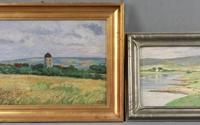 2 paintings, each oil on panel. Landscapes.