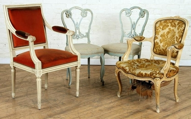 PAIR FRENCH SIDE CHAIRS & TWO ARM CHAIRS