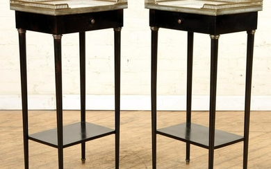 PR FRENCH BRONZE MOUNTED MARBLE TOP NIGHT STANDS