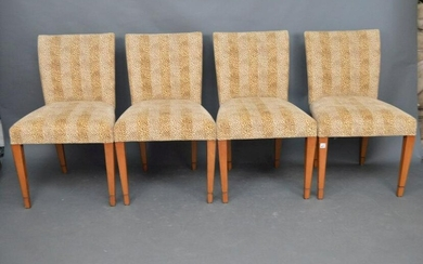 4 Leopard Print Upholstered Side Chairs, Cowtan & Tout