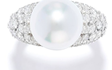 PEARL AND DIAMOND DRESS RING in 18ct white gold, set