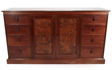 A Gillows of Lancaster Mahogany and Figured Walnut Dwarf Linen...