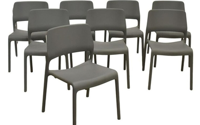 (8) DON CHADWICK KNOLL SPARK GREY STACKING CHAIRS