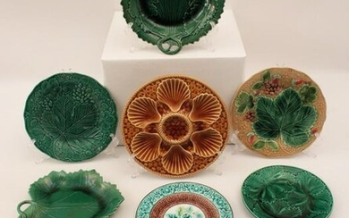 8 PCS. OF FRENCH MAJOLICA INCLUDING AN OYSTER PLATE BY