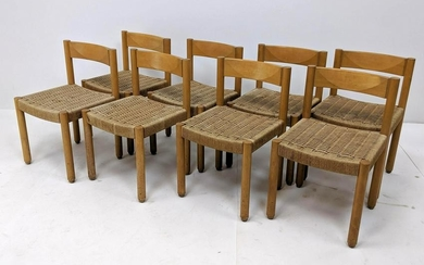 8pc Magistretti Style Woven Rush Dining Side Chairs. Bl