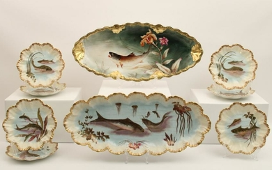 9 PC. FRENCH HAND PAINTED LIMOGES FISH SERVICE