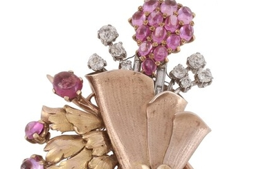 A 1950s pink sapphire and diamond floral spray brooch