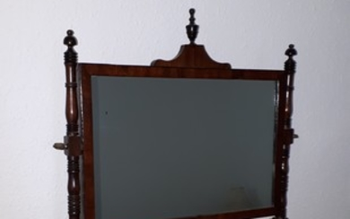 A 19th century mahogany and inlaid dressing table mirror, t...