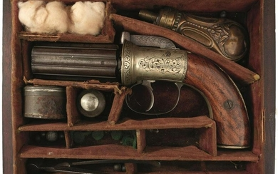 A CASED SMALL-BORE SIX-SHOT PERCUSSION PEPPERBOX