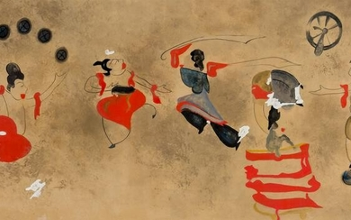 A CHINESE PAINTING OF DANCERS AND ACROBATS AFTER