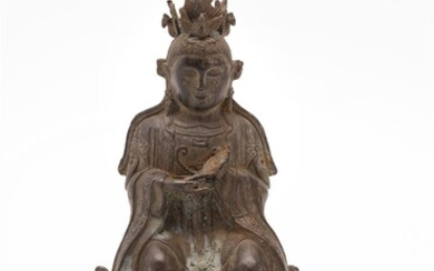 A Chinese seated bronze figure of a Daoist deity