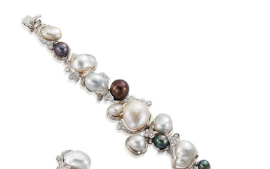 A Cultured Pearl and Diamond Bracelet and Ring Suite,