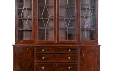 A Federal Style Mahogany Breakfront Bookcase Height 95