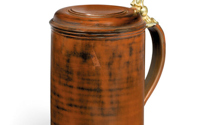 A GILT-METAL-MOUNTED BÖTTGER POLISHED RED STONEWARE TANKARD AND COVER, CIRCA 1710-13, THE MOUNTS 18TH CENTURY