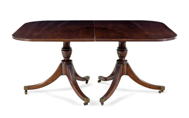 A George III Style Mahogany Triple-Pedestal Dining Table