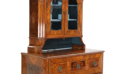 A German Baroque walnut chest of drawers with not matching display cabinet. H. 85. W....