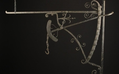 A Good, Early 19th Century Wrought Iron Adjustable Chinmey Crane with decorative scroll work, 102 cm