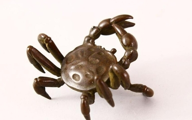 A JAPANESE BRONZE FIGURE OF A CRAB, signed underside