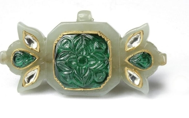 A MUGHAL JADE AND GEM SET PENDANT, INDIA, 19TH CENTURY