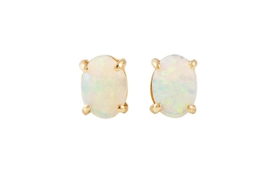 A PAIR OF OPAL EARRINGS mounted in yellow gold