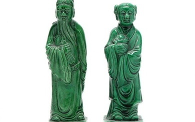 A Pair of Chinese Green Glazed Figures