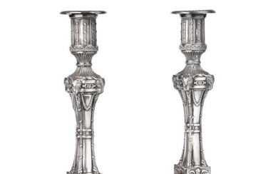 A Pair of Silver-Plated Candlesticks, Apparently Unmarked, Probably Late 18th...
