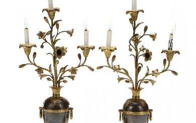 A Pair of Vase Form Gilded Candelabra Lamps