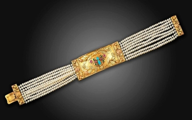 A Regency gold butterfly bracelet, the rectangular tri-colour gold bangle is decorated with a butterfly set with turquoise, rubies and emeralds within laurel surrounds on an eight row untested seed pearl bracelet with foliate gold clasp, 2.4cm wide...