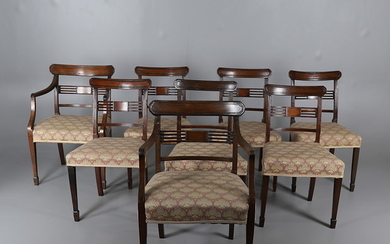 A SET OF EIGHT MAHOGANY FRAMED DINING CHAIRS IN THE GEORGE III STYLE.