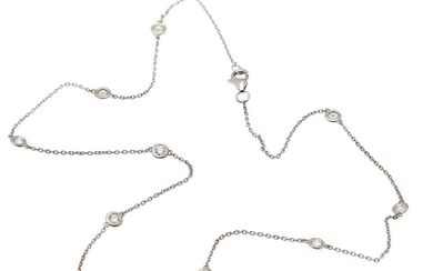 A diamond necklace set with ten brilliant-cut diamonds totalling app. 1.00 ct, mounted in 14k white gold. L. 42,5 cm.
