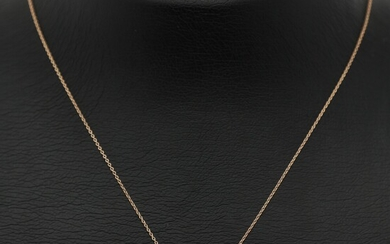 A diamond pendant set with a brilliant-cut diamond weighing app. 0.30 ct., mounted in 14k rose gold. Accompanied by chain of 14k rose gold. (2)