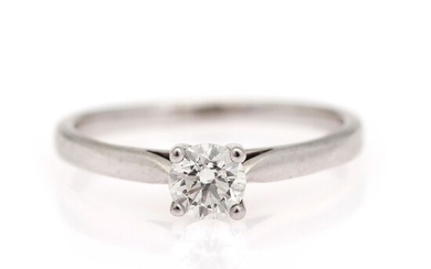 A diamond solitaire ring set with a brilliant-cut diamond weighing app. 0.43 ct., mounted in...