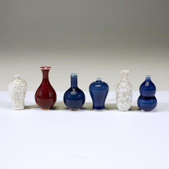 A group of six Chinese miniature porcelain vases