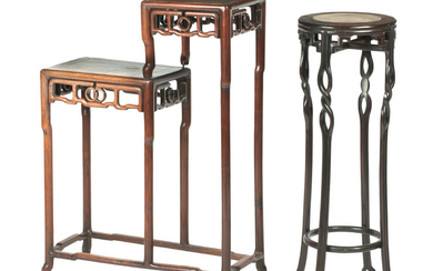 A hongmu double-stand; together with a marble-inlaid hongmu tall stand