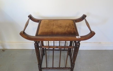 A late Victorian Liberty style music stool 59cm tall x 57cm ...