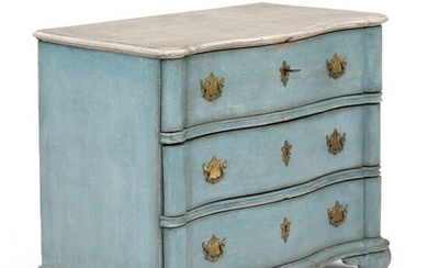 A painted Danish Baroque chest of drawers. Mid 18th century. H. 79 cm. W. 97...