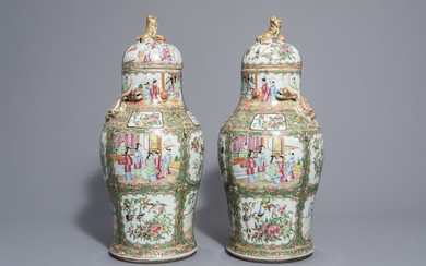 A pair of Chinese Canton famille rose vases...