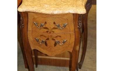 A pair of Louis XVI style marquetry inlaid marble topped ser...