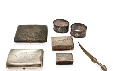 A small collection of Russian silver and a Finnish Samorodok silver cigarette case. 19th-20th century. Weight 325 g. L. 4.5–12 cm. (7).