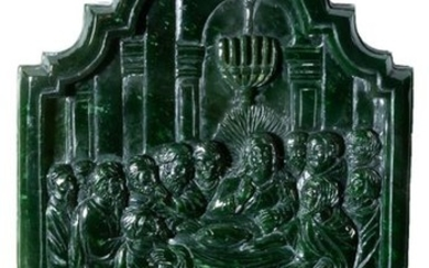 A spinach-green jade relief with the Last Supper...