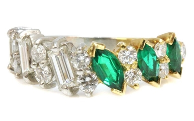 A yellow gold and platinum emerald diamond half hoop ring