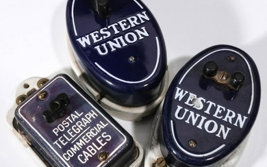 AN EARLY WESTERN UNION PORCELAIN SIGN WITH CALL BOXES