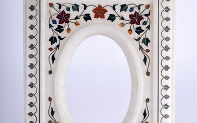 AN EASTERN CARVED MARBLE PICTURE FRAME, inlaid with