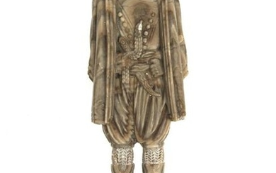AN INDIAN ALABASTER FIGURINE OF A MAN, 19TH C.