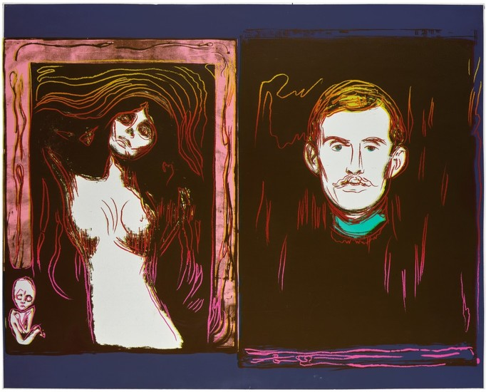ANDY WARHOL   MADONNA AND SELF-PORTRAIT WITH SKELETON'S ARM (AFTER MUNCH) (SEE F. & S. IIIA.62)