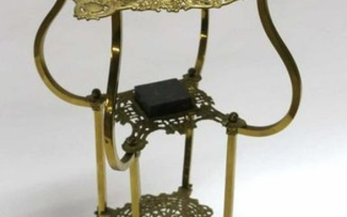 ANTIQUE MARBLE & BRASS TWO TIER PARLOR STAND