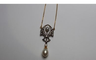 An Art Nouveau style necklace set with diamonds and pearls, ...