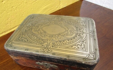 Antique Solid Silver Mounted Document Box Approximately 11 I...
