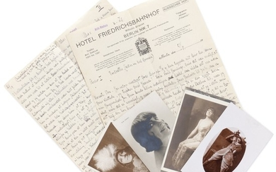 Asta Nielsen: Autograph letter signed by Asta Nielsen to attorney Paul Hennings. Enclosed 5 autograph post cards.