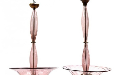 BAROVIER & TOSO - MURANO - Two pendant lamps in